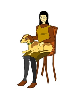 A woman sitting in a chair and a dog