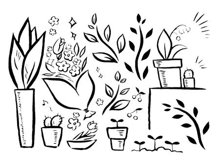 [Brush painting] plant illustration