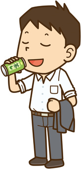 Businessman male drinking cans of tea