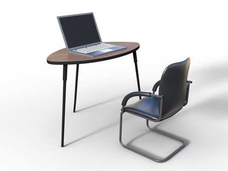 Laptop PC and simple office furniture