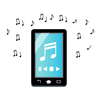 Image to listen to music on a smartphone (Blue series)