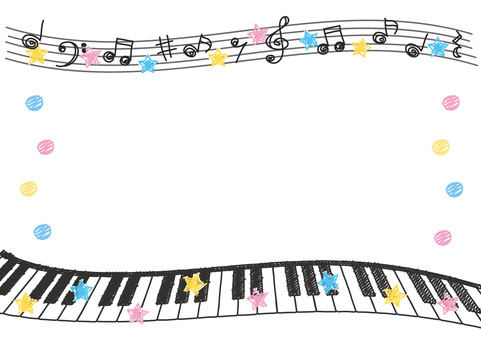 Keyboard and note frame (hand drawn style)