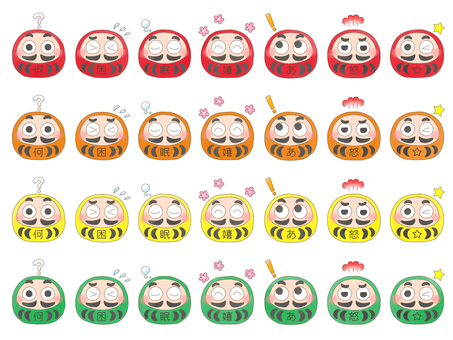 Expressive Daruma (red orange yellow green)