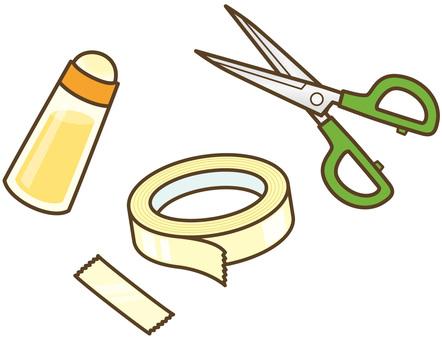 工作道具:ハサミ・のり・テープ