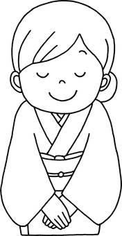 Line drawing A woman wearing a kimono who bows