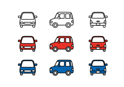 Car light vehicle line drawing horizontal red blue wagon