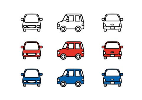 車 軽自動車 線画 横  赤 青 ワゴン