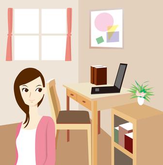女性的房間在家工作