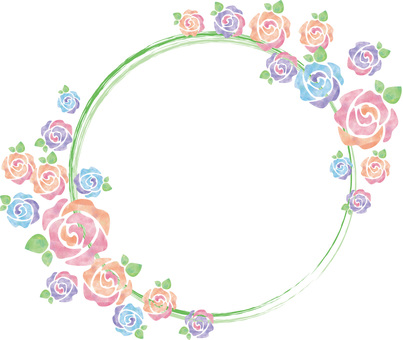 Roses of a pastel_ round frame