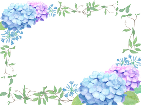Hydrangea and ivy frame