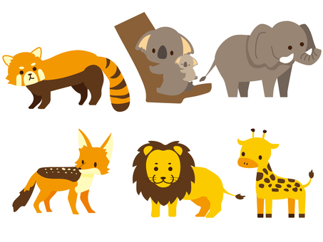 Cute animals set color