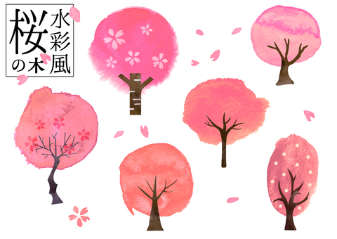 Japanese style material that may be used in spring Cherry blossoms in watercolor