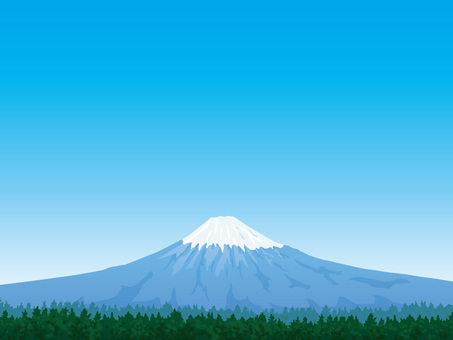 Mt. Fuji with green and refreshing blue sky background 01