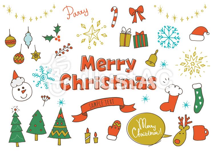クリスマスかわいい系手書きカラーイラスト , No 607462/無料
