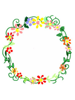 Hand-painted flower frame