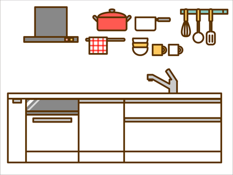 Furniture (system kitchen, ventilation fan, cookware