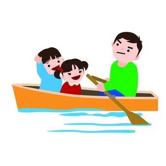 A family riding a boat