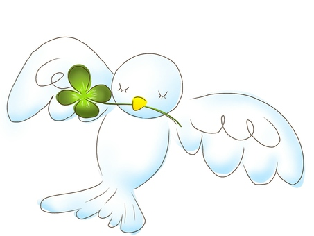 Four leaf clover and bird