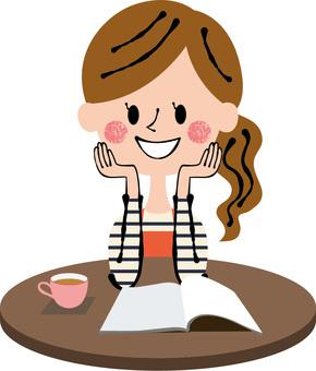 Relaxing burnt tea table woman
