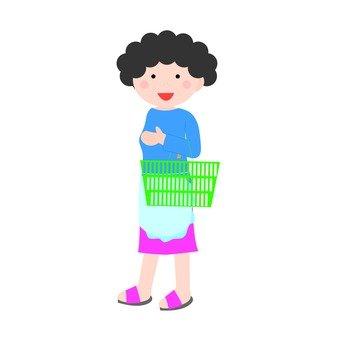 Housewife, whole body, shopping basket