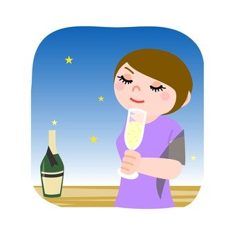 A woman drinking wine 1