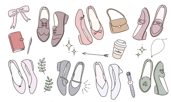 Set of shoes and fashion goods