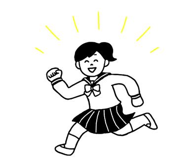 走る女子学生(シンプルモノクロ)