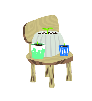 Chair and flowerpot