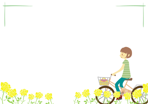 Female frame 2 riding a bicycle
