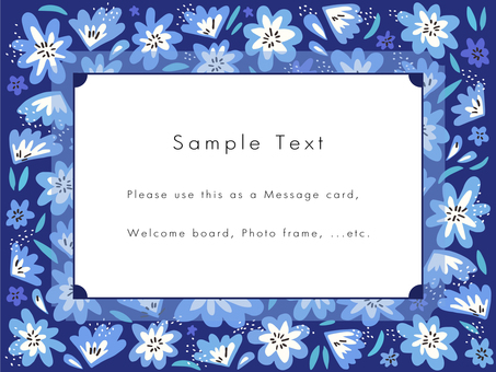 Hand-painted floral frame 02 (blue)