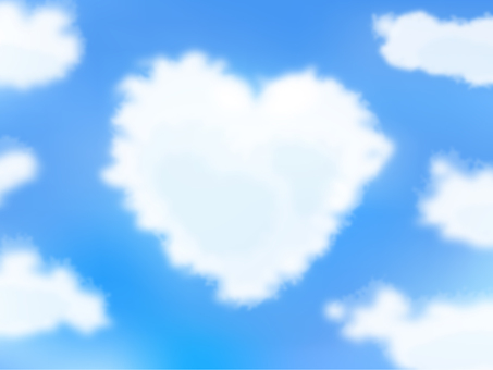 Heart-shaped cloud and blue sky - Vector data
