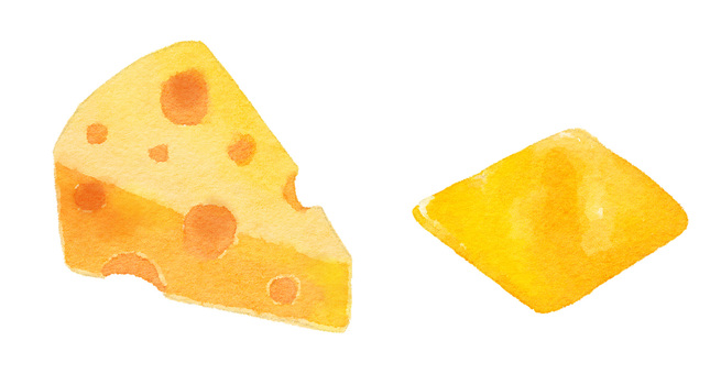 Watercolor ingredients series cheese