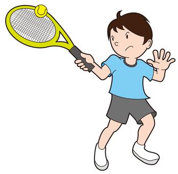 Tennis boy hitting the ball