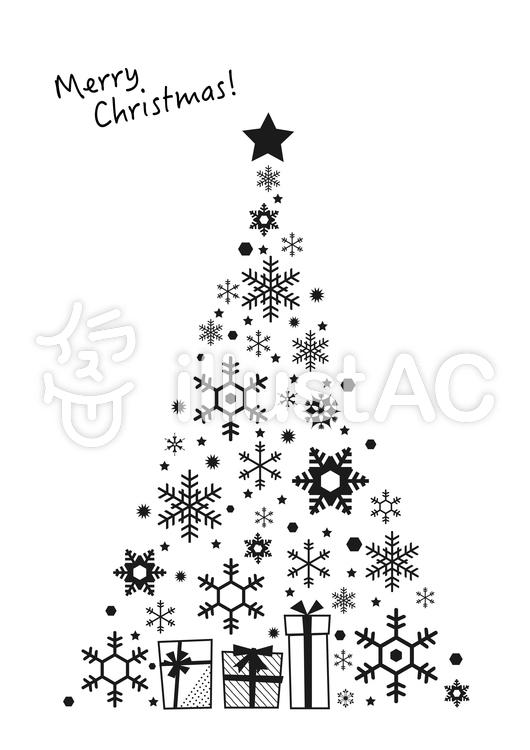 モノクロクリスマスツリーイラスト No 965669無料イラストなら