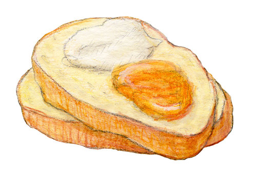 Toast with jam and cream cheese