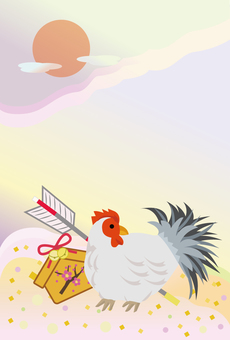Rooster Japanese style New Year's card design