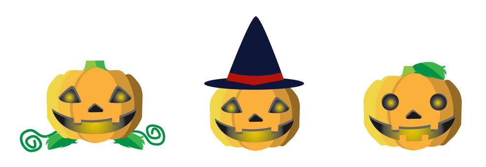 Three haunted pumpkins