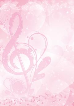 優雅な音符とハートの縦フレーム