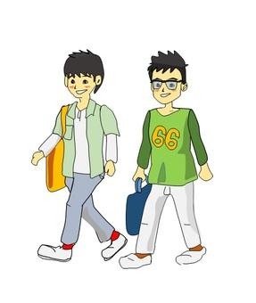 Elementary school students walking with friends