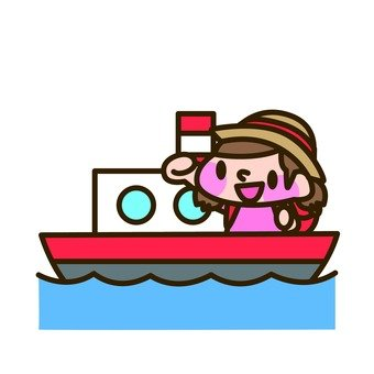 A girl riding a ferry