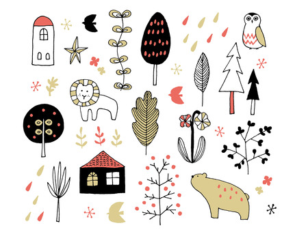 斯堪的納維亞風格的鋼筆劃各種