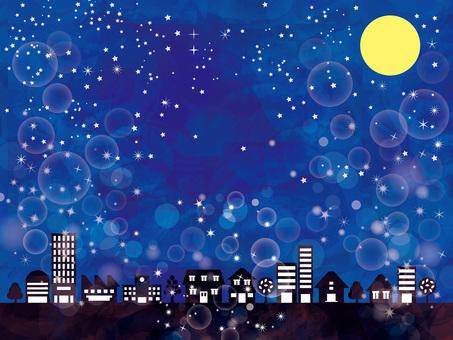 背景夜空イルミネーション十五夜お月見壁紙