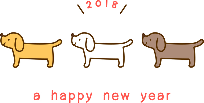 One point for new year greeting card _ Three dogs