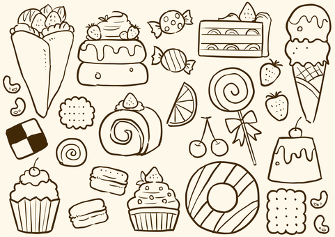 Sweets line drawing illustration set 1