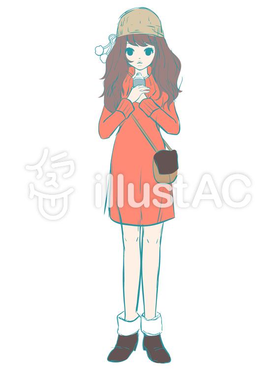 ラフ画っぽい女の子ラフ画ワンピースイラスト No 1318162無料