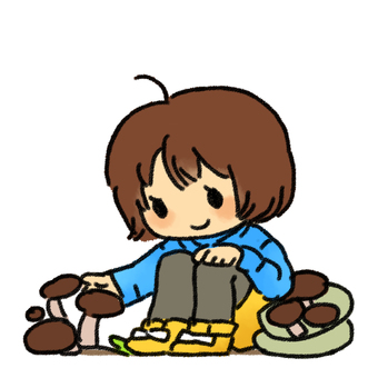 Nana picking mushrooms