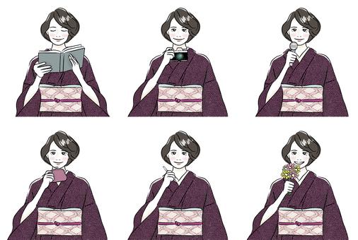 Kimono woman B_ upper body set 6