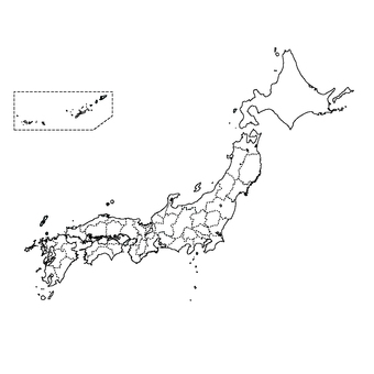 Japan map (black and white)