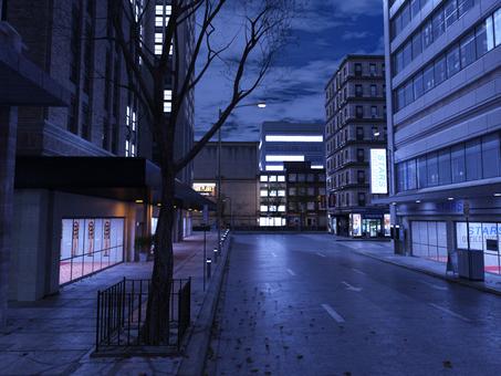 夜のビル街
