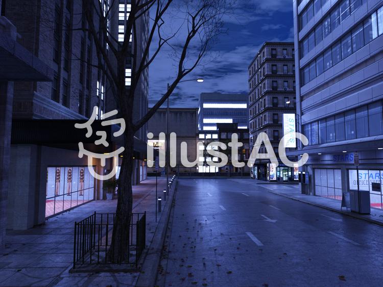 夜のビル街のイラスト
